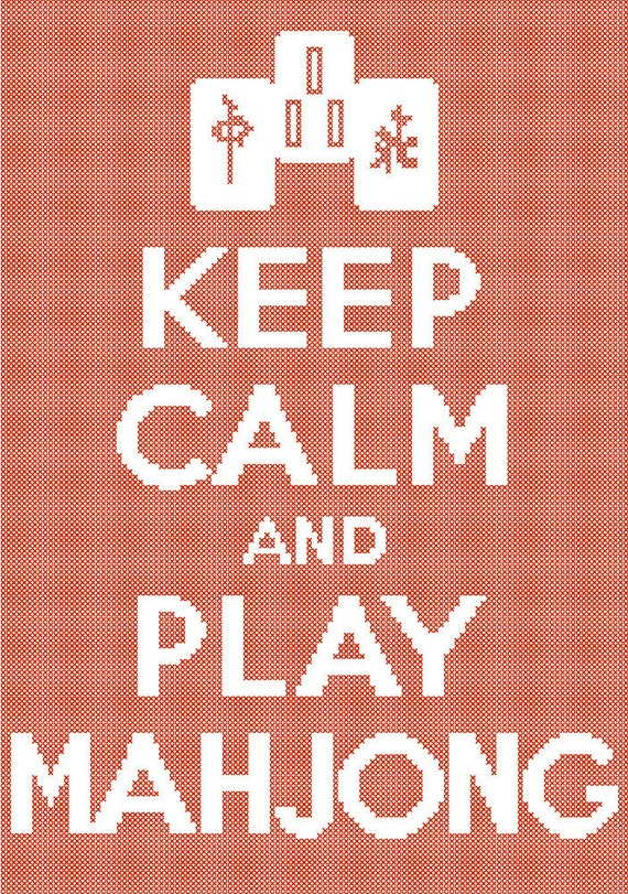 Keep Calm And Play Mahjong Cross Stitch Pattern By
