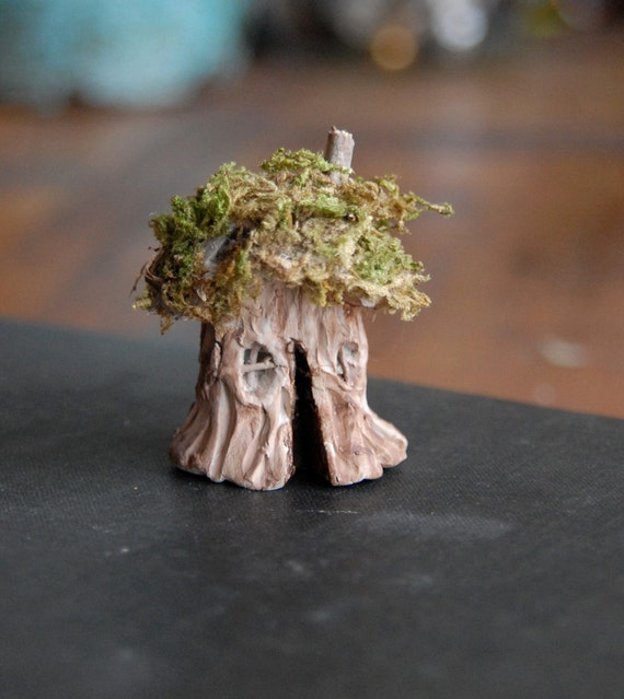 Tiny Fairy House, Gnome Home, Clay and Moss