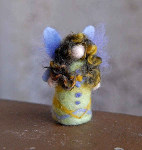 Tiny Fairy, Green Fairy, Needle Felted Fairy,  Miniature Fairy, Waldorf Fairy