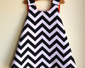 black and white chevron pinafore dress - reversible any color - handmade by noah and lilah christmasinjuly