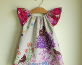 pink spring birds - peasant dress perfect for spring and easter - pink color