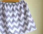 chevron skirt - gray and white - 2t ready to ship