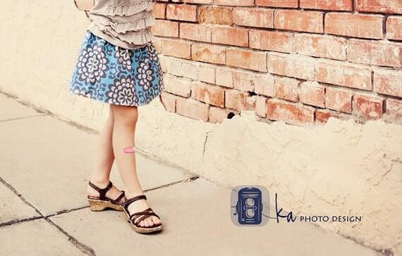 Blue Wallflower - Girls Twirl Skirt - Custom Sizes christmasinjuly