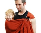 Ring Sling Baby Carrier Daddy Sling Terra Cotta Baby Basics Superwide - Ready to Ship in Standard length