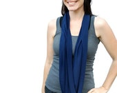 Indigo Blue NeckScape Infinity Sapphire Jersey scarf cowl - Handmade