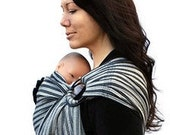 Baby Carrier Ring Sling Tencel Black and Gray Striped Pleated - Ready to ship in Standard or Petite only
