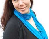 Infinity Scarf Fabric Necklace Jersey Cowl shrug Turquoise Blue NeckScape - Handmade -READY TO SHIP