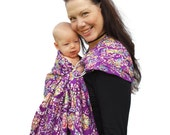 Ring Sling Baby Carrier Embroidered Batik in Purple Superwide -  Ready to Ship in Tall Length