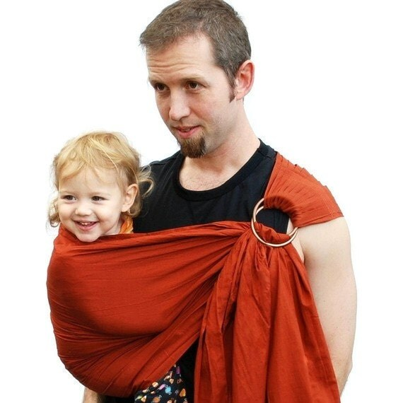 Ring sling baby carrier daddy sling terra cotta baby by for Daddy carrier