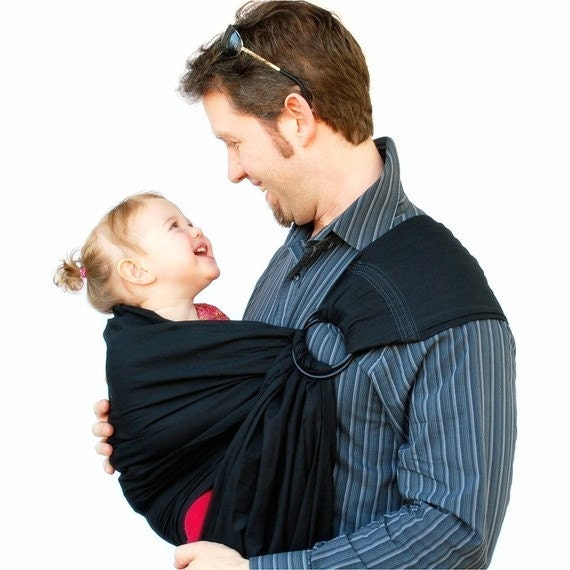 Baby Carrier Daddy Ring Sling Basic Black pleated Shoulder superwide - MADE TO ORDER in Any Length