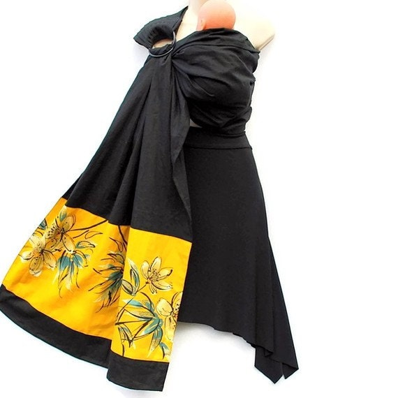 Baby Ring Sling Carrier LINEN Black banded with Gilded Lily vintage Kimono fabric - Made to Order