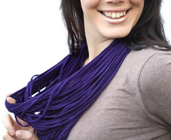 Jersey Scarf Fabric Necklace Infinity Cowl Amethyst Plum Purple NeckScape Luxe - Ready to Ship