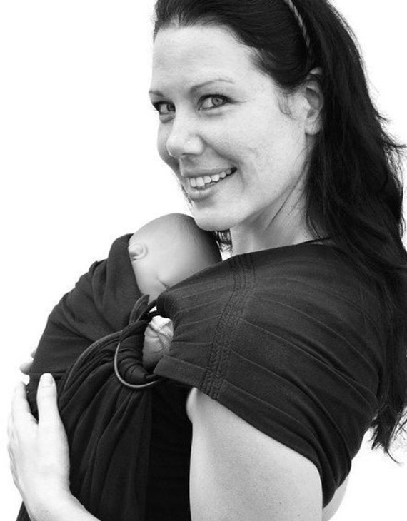 Newborn Baby Carrier Ring Sling Black stretch BabySoft - See my shop for Many Colors/Styles - MADE TO ORDER