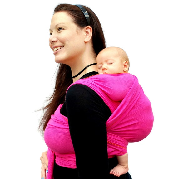 Baby Wrap Carrier Woven Wrap Cotton Gauze Fuchsia Baby Shower BabyEtte - Non-Stretchy - Many Colors in Shop - READY TO SHIP