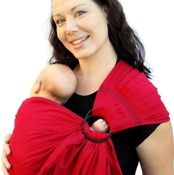 Baby Carrier Ring Sling LINEN Cherry Red Superwide Pleated - Many Colors/Styles in my Shop - Ready to Ship in Tall length