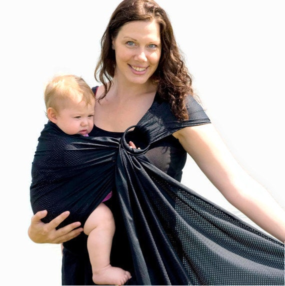 RESERVED in Tall  - Ring Sling Baby Carrier Water Mesh Black Water Baby for Pools, Beach Vacation, Shower - Ready to Ship in Tall length