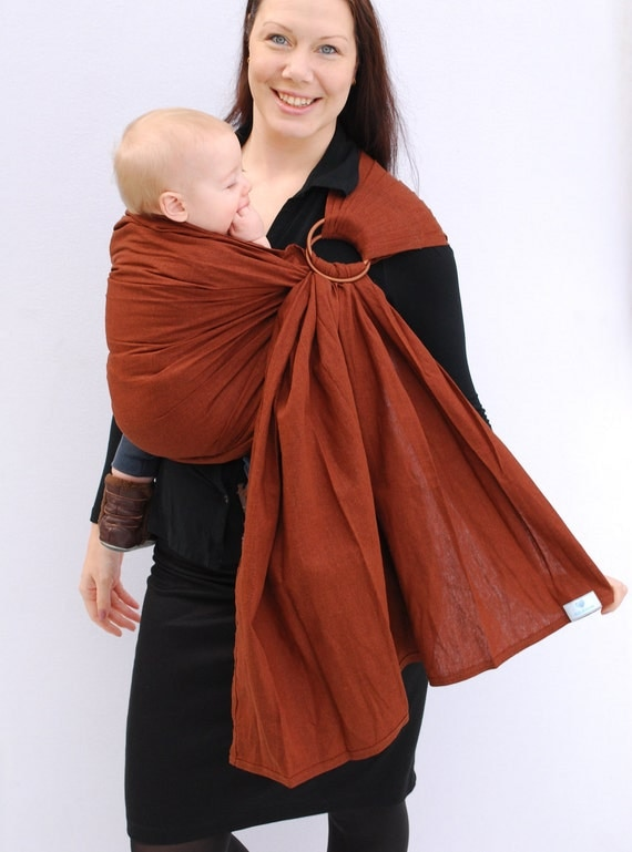 Baby Carrier Ring Sling LINEN Milk Chocolate Brown Superwide Pleated  Baby Basics BabyEtte - Ready to Ship in Standard Length