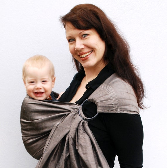 Baby Carrier Ring Sling Dupioni Silk Steel Gray Pleated - Many silk colors in my shop - Ready to Ship in Tall length