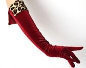 Ooh La La 3/4 Length Red Velvet Gloves With Leopard Velvet Cuff