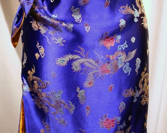 Blue silk brocade skirt