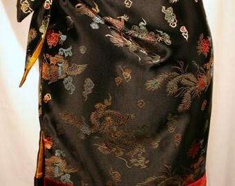 black silk brocade skirt