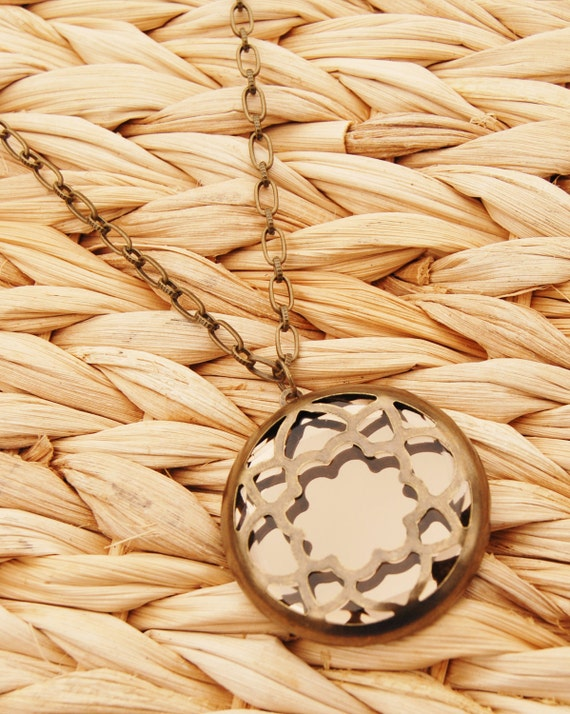 Mirror, Mirror on the Wall Bronze Pendant Necklace