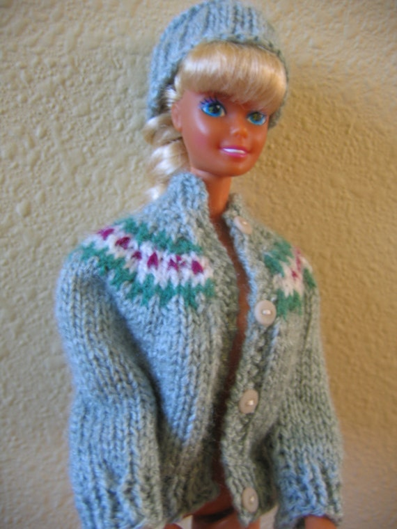 Hand Knit Barbie Doll Clothes Pattern Yoke Sweater fits 11 1/2