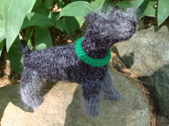 Black Miniature Schnauzer Hand Knit Pet Remembrance Dog