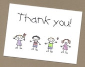Set of 10 Handmade Thank You Cards - Blank Inside - Stick Kids - Great Gift for Teachers