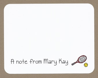 Tennis Ball and Racquet / Racket Note Cards - Custom Stationery
