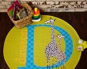 Giraffe Safari - Punky Portable Playmat with strap - Giraffes printed on custom fabric, personalized with name and color choices