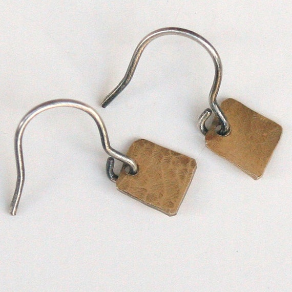 Tiny Brass Treat- brass and sterling silver dangle earrings