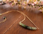 Shaded Green Tourmaline Gold Necklace