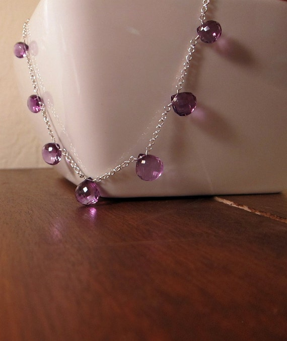 RTS Faceted Amethyst Briolette Sterling Silver Necklace