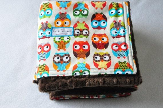 Timeless Treasures Owls in cream baby blanket. 32 X 34