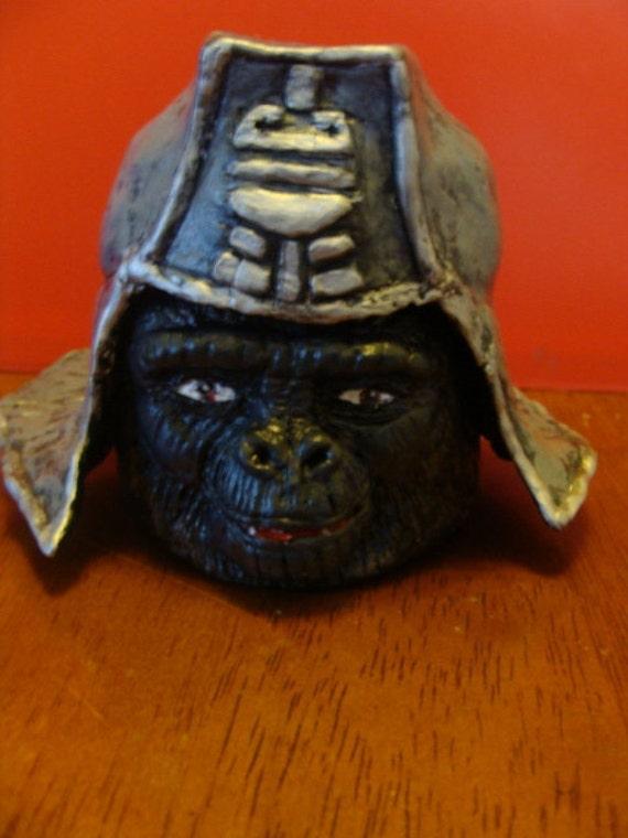 Gorilla In Helmet Keepsake Holder jar(functional-art sculpture)