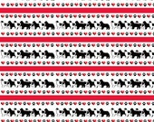 Newfoundland dog hearts and paw prints border fabric