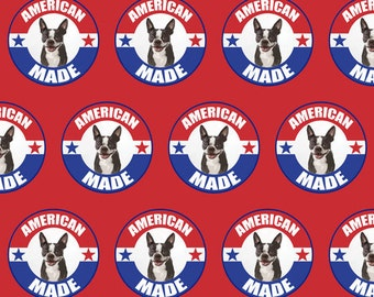 American Made Boston Terrier fabric
