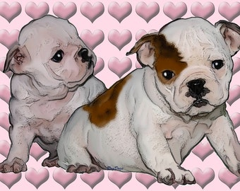 Bulldog Babies fabric