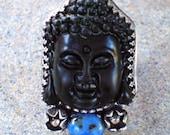 Black jade buddha ring