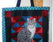 Kitty Cat Tote, Market Bag, Cat shopping bag - 50% off sale priced