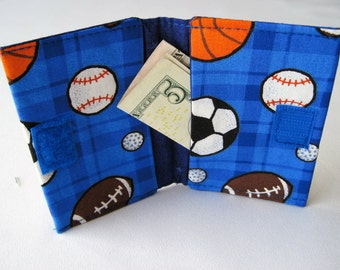 Boys gift card wallet for boys  Fits in Back Pocket-sports balls Sports gift card holder Sports wallet for boys