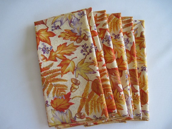 Napkins Oak and Maple Leaves in Autumn Oranges and Yellows Set of 6