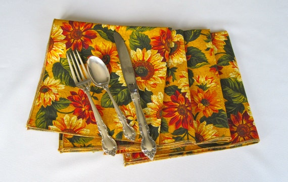 Sunflower Napkins Set of 4 Green and Yellow Napkins