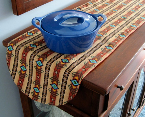 southwestern table runner 36 inch reversible brown and turquoise southwest table runner aztec. Black Bedroom Furniture Sets. Home Design Ideas