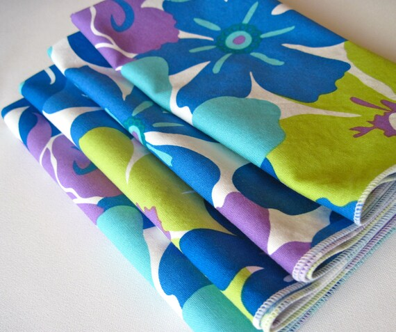 Bold Blue and Purple dinner napkins set of 4 large floral print