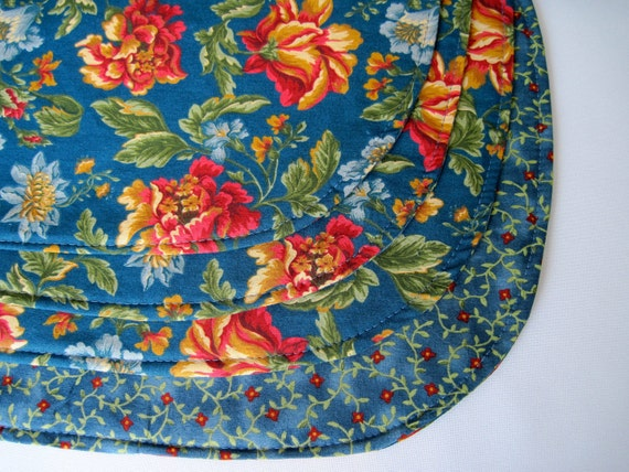 Blue Floral Reversible Oval Placemats set of 4  Cottage Blue Florentine