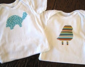 Set of 2 Baby Onesies with Fun Fabric Applique Animals