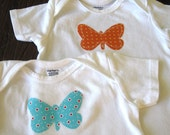 Set of 2 Baby T-shirts with Sweet Fabric Applique Butterflies
