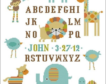 Candy Stripe Zoo Boy Sampler Cross Stitch PDF Chart